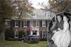 La maison d'enfance de la princesse Grace à Philadelphie, lors de la visite du prince Albert II le 25 octobre 2016. En médaillon: Grace Kelly et le prince Rainier III de Monaco à Philadelphie le 5 janvier 1956.