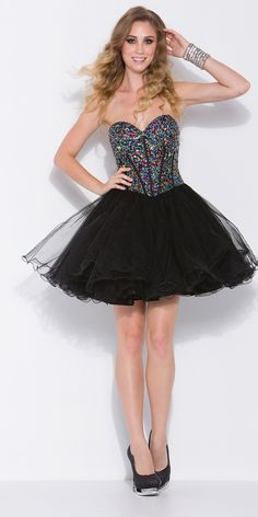 Sparkly Sequined Strapless Sweetheart Bodice with Black Tulle Layered Short Party Dress - Homecoming Dresses Sexy Dresses, Prom Dresses 2015, Black Prom Dresses, Unique Dresses, Dance Dresses, Elegant Dresses, Strapless Dress Formal, Short Dresses, Dress Prom
