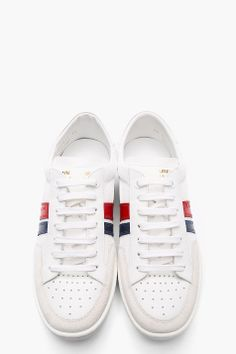 SAINT LAURENT White leather-trimmed striped Low Top Sneakers
