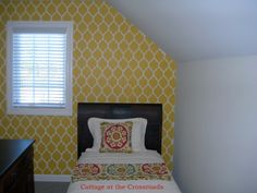 Yellow is really in right now! Try using a stencil like this one to redo your room for only $39.95.