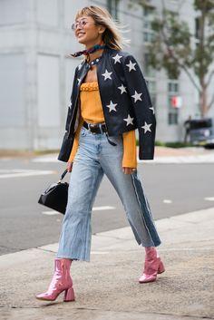 street style | star leather jacket | pink metallic boots