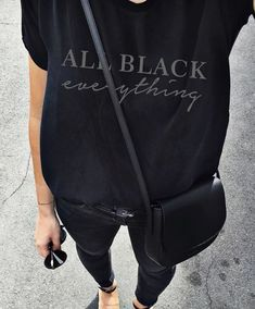Pair a black graphic tee with an all black outfit. Let DailyDressMe help you find the perfect outfit for whatever the weather! Fashion Mode, Look Fashion, Street Fashion, Womens Fashion, Fashion Clothes, Latest Fashion, Fashion Stores, Fashion Outfits, Fashion Accessories