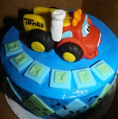 TONKA TRUCK Smash Session Cake- Buttercream Frosting with Fondant accents.