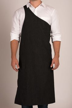 Butcher Apron: Pinstripe Grey or Pinstripe Black — Portland, OR Restaurant: The Country Cat Sewing Aprons, Sewing Clothes, Apron Dress, Blouse Dress, Cafe Apron, Restaurant Uniforms, Black Apron, Work Uniforms, Uniform Design