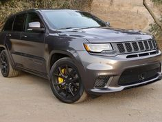 The Jeep Grand Cherokee Trackhawk is completely impractical but you'll get out of the driver's seat with a huge grin plastered across your face. Grand Cherokee Trailhawk, Jeep Grand Cherokee Laredo, Jeep Wrangler Lifted, Lifted Jeeps, Jeep Wranglers, Jeep Names, Jeep Sport, Bmw X5 M, Jeep Accessories
