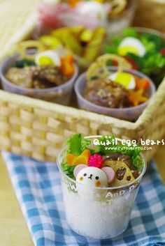 Bear-in-a-cup Bento...my favorite and perfect for encouraging kids to eat. :)
