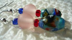 small blue glass bead-transparent plastic pink-small red glass bead and elongated gradient glass bead...simple beauty for you!