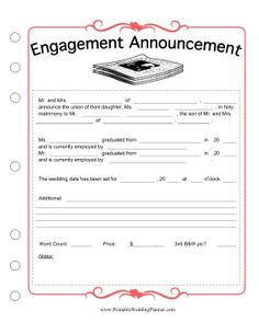 No need to draft your own engagement announcement. You can just fill in the… Wedding Planning Binder, Event Planning Template, Wedding Binder, Wedding Planner Book, Planner Template, Wedding Book, Dream Wedding, Wedding Ideas, Wedding Planners
