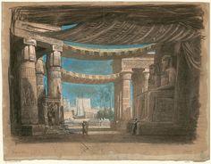 Set design (1871), by Édouard Desplechin (1802-1871), for Act 2, Scene 2, of Aida (1871), by Giuseppe Verdi (1813-1901).