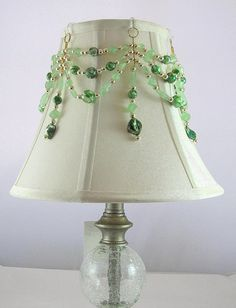 Beaded lampshade i made from an old lampshade wire frame and close lamp jewelry for your lampshade beaded cover with hooks greentooth Gallery