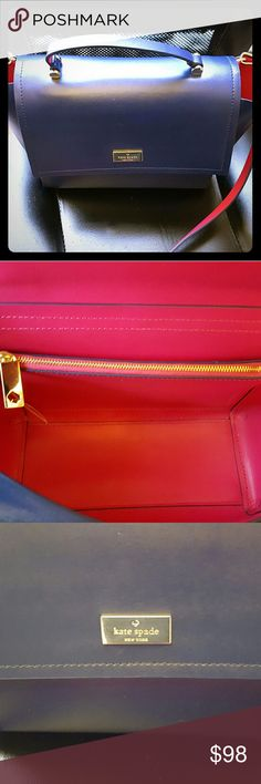 Authentic Kate Spade Handbag Navy and pink Kate Spade Handbag,  medium sized kate spade Bags Shoulder Bags
