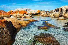 Stock Photo: Rocky Coastline, Binalong Bay, Bay of Fires, Tasmania, Australia Places Around The World, Oh The Places You'll Go, Places To Travel, Places To Visit, Around The Worlds, Vacation Places, Work And Travel Australia, Queensland Australien, Paisajes
