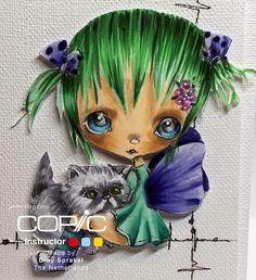 Copic Marker Europe: Love in CAS,   Skin E000-00-21-11-04-21 Hair G29-YG00-033-17-67 Wings B 60-63-66 Dress BG 34-45-49 CatC1-3-5-7