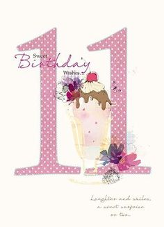 Ice Cream Sundae 11th Birthday Card