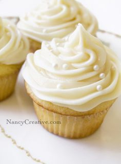 Lovely simple decoration. Vanilla cupcakes with Vanilla frosting - Nancy Creative