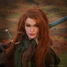 Elf nature red hair fantasy long hair wild Redhead sword Scenic ginger gingers nordic warrior pagan swords Wild life norse tatharielcreations Tathariel Tathariel creations warrior women Shieldmaiden really long hair Marita Tathariel