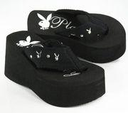 Playboy Bunny Flip-Flop Wedge Thong Sandals Black