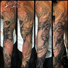 Japanese Dragon Sleeve Tattoos Black And Grey Black Dragon Tattoo, Dragon Tattoo Arm, Dragon Tattoos For Men, Dragon Sleeve Tattoos, Japanese Dragon Tattoos, Dragon Tattoo Designs, Best Sleeve Tattoos, Tattoos For Guys, Tattoo Japanese