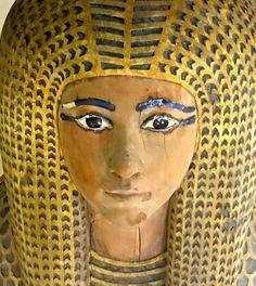 Outer woodcoffin of Queen Merytamun facial details. .. Egyptian Museum, Cairo Egypt.