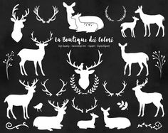 """White Deer Silhouette Clipart, cute digital graphics provided in PNG format. These are perfect for Personal and Small Business Commercial Use."""