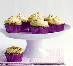 Vegan banana & peanut butter cupcakes. Employ some clever tricks to achieve a dairy-free bake - egg-free mayonnaise, almond milk and margarine fit the bill