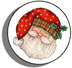 """Amazon.com: Custom & Decorative {1.2"""" Inch} 48 Piece Pack of Mid-Size Stickers for Arts, Crafts & Scrapbooking w/ Christmas Time Bundled Up Cartoon Santa's Face Style {Orange, Green, White, & Black}"""