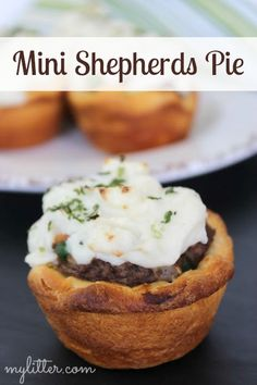 Shepherds Pie is a great meal for combining all your ingredients into one delicious dish. These Mini Shepherds Pies are tasty and adorable. The kids will love these perfect little pies! Deb Klein says nice as an appetizer at an adult party too! Beef Dishes, Tasty Dishes, Appetizer Recipes, Dinner Recipes, Appetizers, Beef Recipes, Cooking Recipes, Beef Meals, My Favorite Food