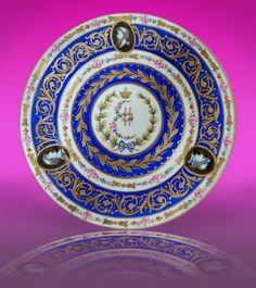 Very Rare plate from original #Sevres service made for Catherine II, measures 26cm. The 18th century