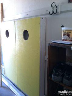 My Dad's Customizable Garage Storage Wall ~ Madigan Made { simple DIY ideas } Garage Storage Shelves, Garage Storage Solutions, Cubby Storage, Shop Storage, Garage Organization, Diy Storage, Cubbies, Garage House, Cornhole Boards