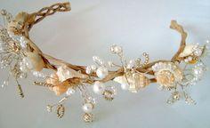 White Bridal Wreath, Seashell Wreath, Wedding Headband, Beach Wedding, Bridal Beach, Victorian Headpiece, Natural, Woodsy, on Wanelo