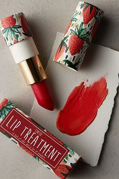 anthropologie strawberry lipstick packaging