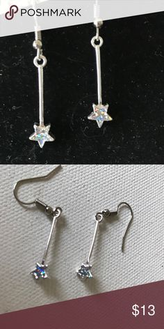 "Star Drop Earrings 1"" Drop iridescent star earrings on nickel free silver wires Jewelry Earrings"