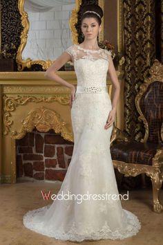 Cheap Sheer Scoop Neckline Chapel Train Trumpet Lace Wedding Dress - the Best Wedding Dresses Online Wholesaler and Retailer