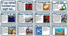 Geography KS2 and KS2 Resources - What is Scotland Famous For Display Posters.  Scotland Posters  12 Posters including: Tartan, Haggis, Loch Ness, Kilts, Highland Cows, Edinburgh Castle, Ben Nevis, Thistles, Bagpipes, Scottish Flag and the Highland Games.
