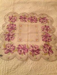 Orchids Vintage Hanky Hankie Handkerchief Lavender Purple Florals Scalloped Edge | eBay