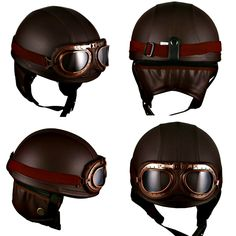 The Hanmi motorcycle goggles half-helmet vintage Garman style gives you the classic and vintage look with its brown synthetic leather, retro-style goggles and ear muffle. Being one of the best motorcycle half helmet style by Bike Gear Up reviews. #motorcyclehelmet