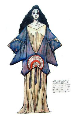 Star Wars Padme Amidala Tatooine Blue Dress - Original Concept Art