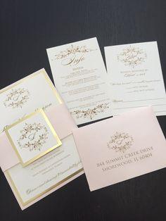 Wedding Invitations Gold Invitation Blush And Free Rsvp Envel
