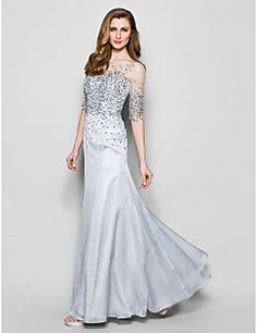 Mother of the Bride Dress Floor-length Half Sleeve Chiffon A-line Dress – USD $ 199.99