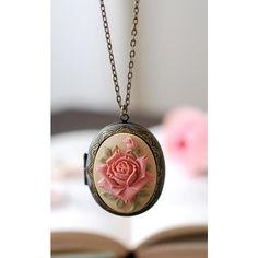 Rose Cameo Locket Necklace Large Floral Oval Locket Vintage Victorian... ($27) ❤ liked on Polyvore featuring jewelry, pendants, rose jewelry, rose jewellery, victorian jewelry, vintage style jewellery and oval locket
