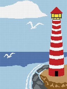Chella Crochet Lighthouse #4 Afghan Pattern Graph Blanket .PDF Emailed