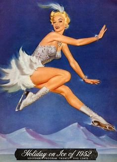 Holiday on Ice 1952 vintage skating program with pin up. Pin Up Vintage, Vintage Holiday, Vintage Ads, Vintage Posters, Retro Posters, Pinup Art, Ice Skating Images, Pin Up Pictures, Pin Up Illustration