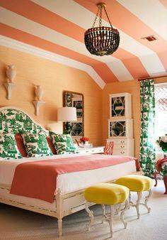 Orange stripes paired with Kelly Green Toile..  Tobi Fairley Design