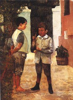 "LITERATURA INFANTIL (1880-1910) Belmiro Barbosa de Almeida Júnior (1858-1935). ""Dois Meninos Jogando Bilboquê""."
