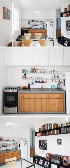 In this small kitchen, white upper cabinets reach all the way to the ceiling, while a concrete and wood kitchen unit is sandwiched between the stove/oven and the fridge. #KitchenDesign #SmallKitchen #ConcreteCounter