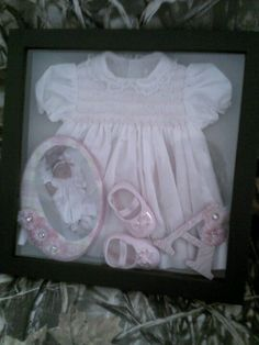 My babies shadow box with homecoming dress; Idea for baptism with pic of nana mom and baby in dress Shadow Box Memory, Memory Frame, Shadow Box Frames, Crafts For Teens To Make, Diy And Crafts, Fun Crafts, Baby Memories, Family Memories, Vintage Baby Clothes