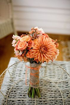 peach-toned wedding flower bouquet, bridal bouquet, wedding flowers, add pic source on comment and we will update it. www.myfloweraffair.com can create this beautiful wedding flower look.