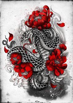 hebi serpent by Marine Loup Japanese Snake Tattoo, Japanese Tattoo Designs, Flower Tattoo Designs, Flower Tattoos, Red Tattoos, Asian Tattoos, Body Art Tattoos, Tattoo Drawings, Diy Tattoo