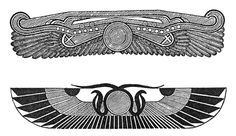 Both the Egyptians and the Maya chose a winged circle to symbolize the divine in man. In hieroglyphic inscriptions, on the royal cartouches, and on the entranceways of temples, the winged circle appears throughout Egyptian architecture. In Egypt it was originally a pair of falcon wings symbolizing the ethereal, but during the fifth dynasty two serpents and a sun disk were inserted between the wings, representing Horus of Behdet.