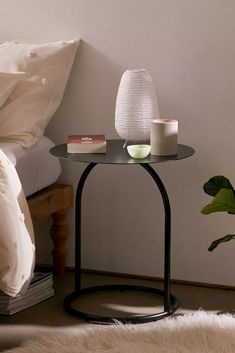 Alda Side Table | Urban Outfitters Side Table Decor, Metal Side Table, Round Side Table, Table Decorations, Rattan Side Table, Side Tables, Circle Wall Shelf, Ceramic Stool, 6 Drawer Dresser